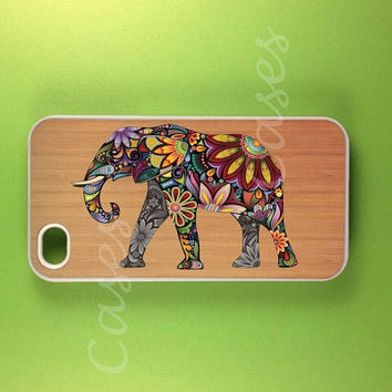 Iphone 4 Case  Elephant Art on Wood  Iphone Case by DzinerCases