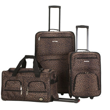 Rockland 3 Piece Luggage Set Leopard One Size '