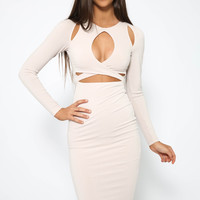 Nookie - Loren Long Sleeve Dress - Nude
