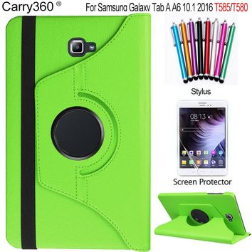 Carry360 For Samsung Galaxy Tab A 10.1 2016 Case T580 T585 360 Degree Rotating PU Leather Stand Cover + Screen Protector +stylus
