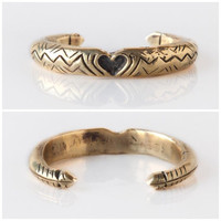 Heavy Solid yellow bronze heart And arrow engraved gold cuff- aztec boho gypsy indie style made to order