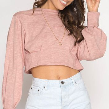 Counting Stars Rose Pink Long Balloon Pintuck Sleeve Round Neck Loose Crop Top