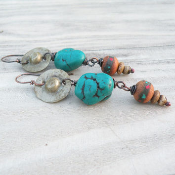 Eclectic Bohemian Earrings with Prayer Beads and Tribal Metalwork