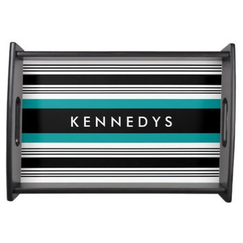 Personalized Teal And Black Striped Serving Tray