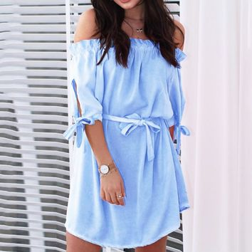 Fashion New Solid Color Strapless Short Sleeve Dress Women Light Blue