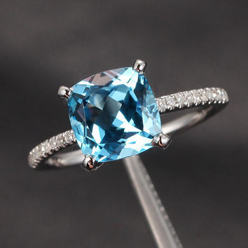 For lolo91187: Matching Band & 8mm Cushion London Blue Topaz Size 9 10K White Gold Pave Diamond Claw Prongs Engagement Ring Wedding Ring
