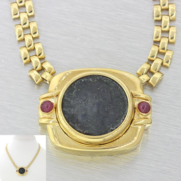 1970s Vintage Estate 14k Solid Yellow Gold Antique Coin Ruby Pendant Necklace
