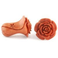 Pair of Sabo Wood Rosebud Plugs: 2g