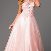 Sleeveless Floor Length Embroidered Ball Gown