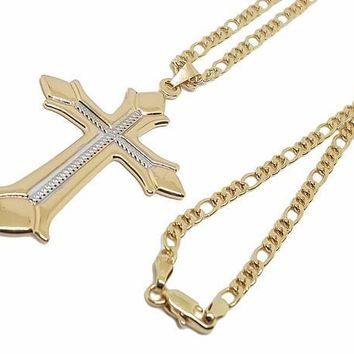 1-2303-1957-f8 18kt Brazilian Gold Layered Two Tone Cross Necklace. 24 inch Figaro Link Chain. Pendant is 35mm wide by 2.5 inches tall.