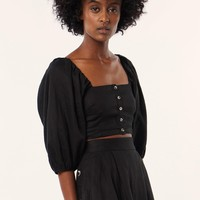 Button Front Cropped Top