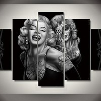 Canvas Painting New 5 Pieces/sets Canvas Art Marilyn Monroe Canvas Wall Art Painting Decoration For Home Abstract Figure\J0327