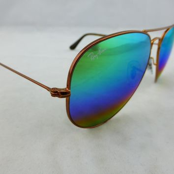 Ray-Ban Sunglasses Aviator Bronze Copper - Green Rainbow Flash 3025 9018C3 58mm