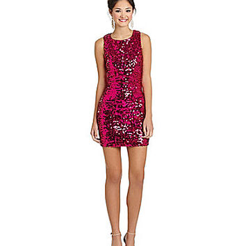 GB Sleeveless Allover Sequin Dress - Hot Pink
