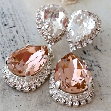 Blush Pink crystal Swarovski Chandelier earrings, Bridal earrings, Bridesmaids gift, Dangle earrings, Drop earrings, Weddings jewelry