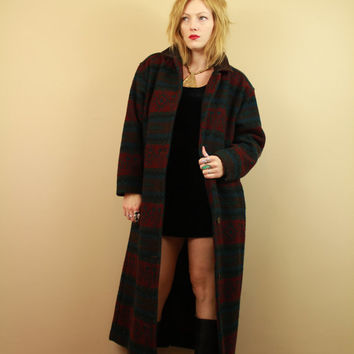 SALE - Dark Natural Tones - Wool - Navajo Style - Indian Blanket - Leather - Long Coat - Duster