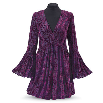 Purple Bell Sleeve Burnout Tunic - Women's Clothing & Symbolic Jewelry – Sexy, Fantasy, Romantic Fashions