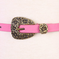 Pink Floral Detailed Buckle Faux Leather Belt