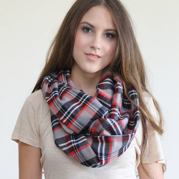 Fall Plaid Infinity scarf, Warm winter Infinity Scarf, Plaid flannel scarf