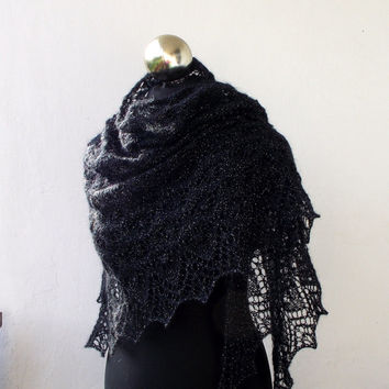 Black with silver sparkles hand knitted lace shawl