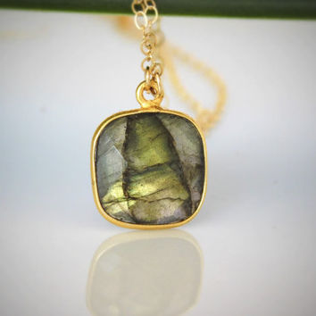 Labradorite Necklace -  Gemstone Necklace - Vermeil Bezel - Gold - Layered Necklace - Stone Pendant - Gold Framed Stone - Choose Length