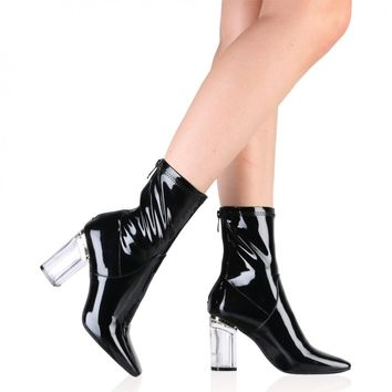 Chloe Perspex Heeled Ankle Boots in Black