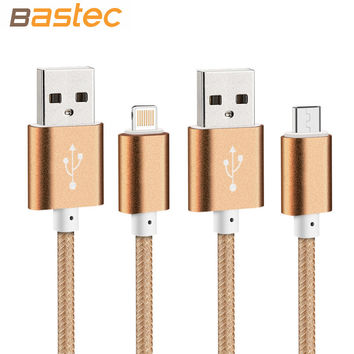 Micro USB Cable with Colorful Nylon Line Metal plug for iPhone 6 Plus 5s iPadmini Samsung Sony Xiaomi HTC Nokia
