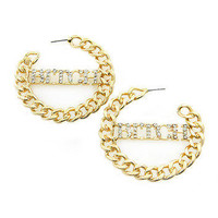 "GOLD Bling Rhinestone ""BITCH"" LINK CHAIN HOOP Statement Earrings Metal"