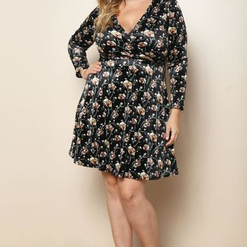 Velvet Elegant Skater Plus Size A-line Dress