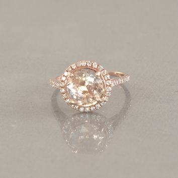 2.8 carat Peach champagne Sapphire ring, Diamond ring 14k rose gold ring, Fine jewelry engagement ring  P-171