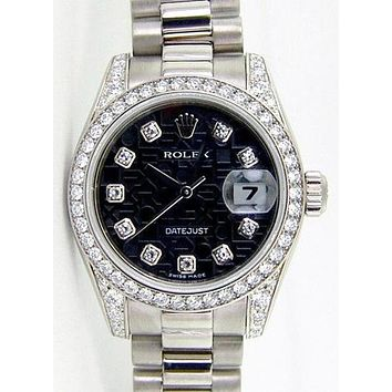 Rolex Fashion Lady Men Diamond Business Movement Simple Watch Wristwatch I