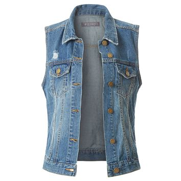 LE3NO Womens Fitted Distressed Cropped Denim Vest Jacket with Pockets
