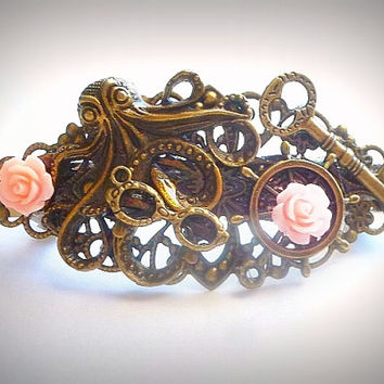 Octopus Hair Barrette / Hair Clasp / Bronze Hair Accessory / Designer Fashion Accessory / Steampunk Hair Jewelry