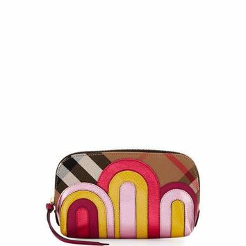 Burberry Large House Check Pop Elements Beauty Pouch, Bright Pink