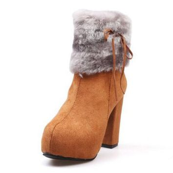 YJSFG HOUSE 2017 Plus size Fashion Women Snow Boots Winte Fur Shoes Platform high Heel Ankle Boots Winter Bow Plush Shoes Women