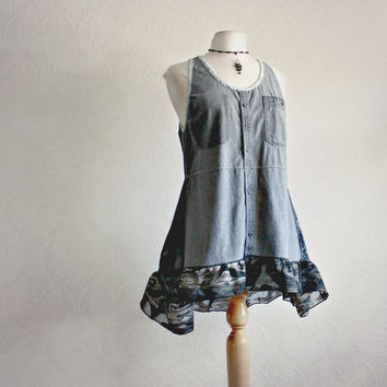 Black Denim Long Tank Top Upcycled Clothing Women's Boho Tunic Ruffle Shirt Eco Clothes Bohemian Style Medium 'JUNO'
