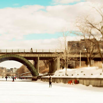 Cyber Monday, Skating on the Rideau Canal, Ottawa Photography, Winter, ice blue, Winterlude, 8x12, retro home decor, art print
