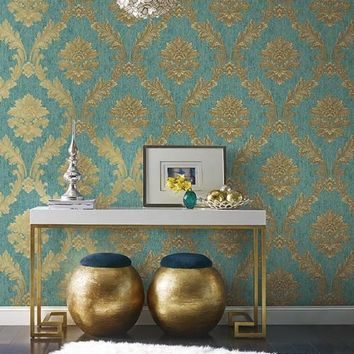 Acanthus Fan Wallpaper in Gold, Turquoise, and Brown by Antonina Vella – BURKE DECOR