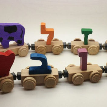 Children's Wooden Personalized Name Hebrew Trains Kids Toys (4 character) Baby Shower Gift