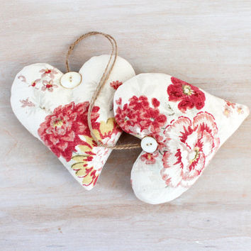 Pair of Lavender Heart Sachets, Romantic Home Decor, French Country Red