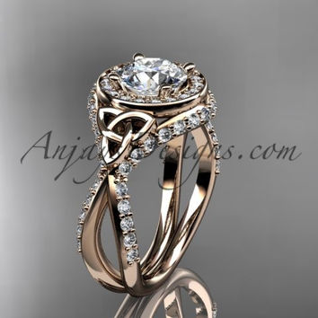 """14kt rose gold diamond celtic trinity knot wedding ring, engagement ring with a """"Forever One"""" Moissanite center stone CT7416"""