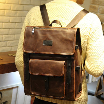 Vintage Men's 14 Inch Laptop Bag Leather Rucksack Backpack