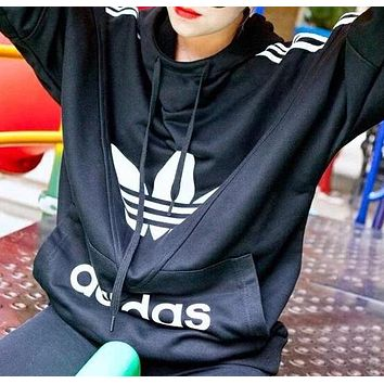 Adidas Newest Fashionable Women Men Casual Print Long Sleeve Sweater Pullover Top Black