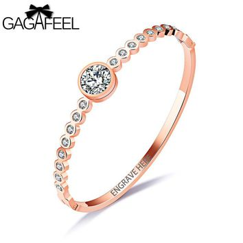GAGAFEEL Elegant Women Bangle Bracelet With CZ Zircon Rose Gold Color DIY Jewelry Laser Engrave Unique Logo Gift For Female New