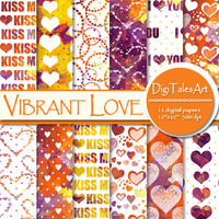 "Hearts watercolor digital paper ""Vibrant Love"", scrapbook, watercolor background, hearts clipart pattern, invitations cards collage"