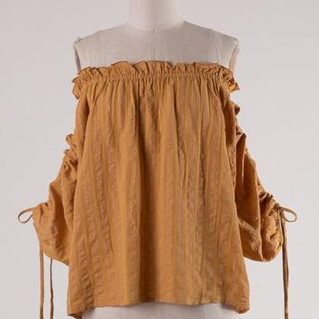 (pre-order) Camel Ruched Sleeve Blouse