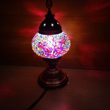 Unique Turkish handmade decorative authentic colourful glass mosaic table lamp, bedroom night lamp, bedside lamp, kid's bedroom lamp.