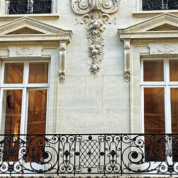 Paris Photography, Windows and Balconies of Paris, Paris Architecture, French Lace Balconies Decor, Paris Winter White Balcony Windows 8x12