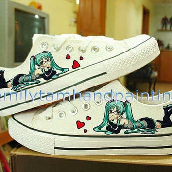 Vocaloid Hatsune Miku Converse Custom Converse Shoes-Hand Paint on Converes Kicks Low Tops Inspired from Vocaloid Anime, Best Xmas Gift