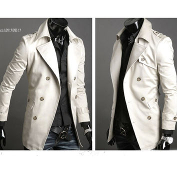 2013 Men's Stylish Double Breasted Long Trench Coat Jacket Windbreak dropshopping